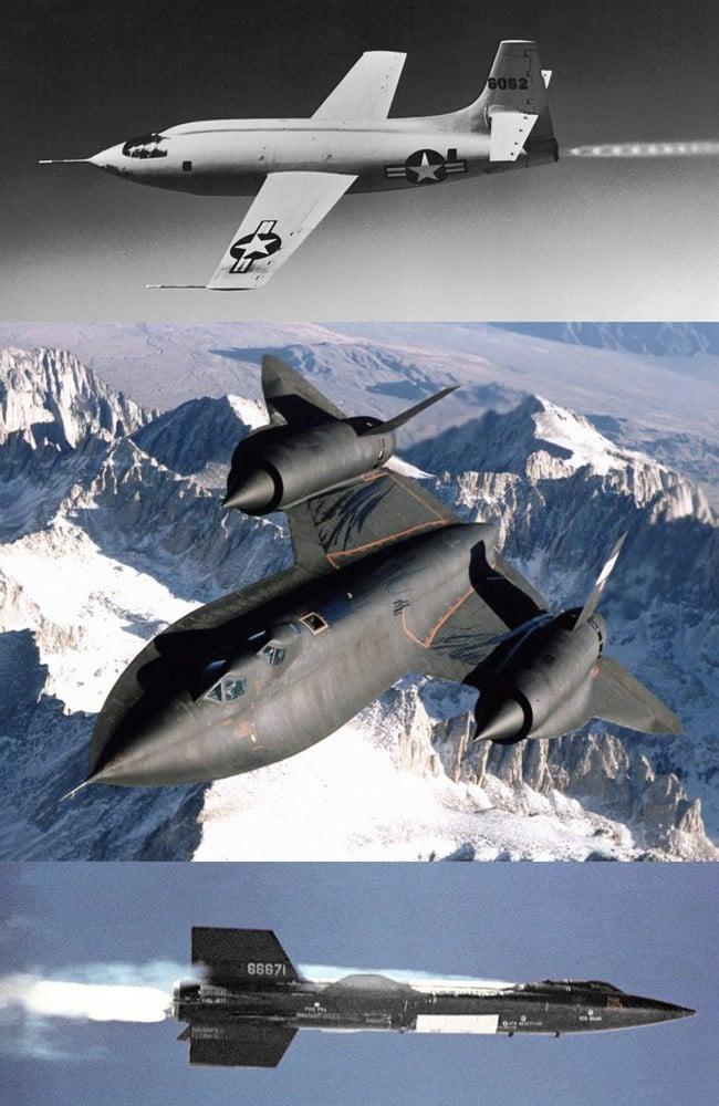 The Bell X-1, Lockheed SR-71 and North American X-15. Pics: NASA