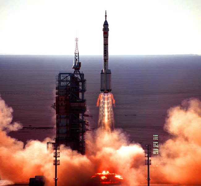 A Long March 2F lifts Shenzhou 5 at Jiuquan Satellite Launch Centre in 2003
