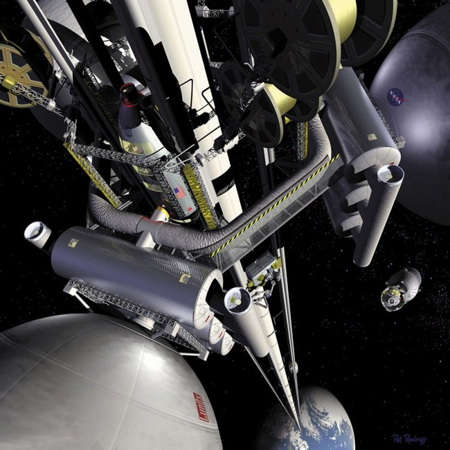 NASA concept picture of a space elevator