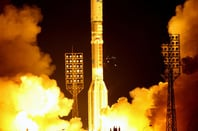 A proton carries the DIRECTV 12 satellite aloft in 2009. Pic: International Launch Services