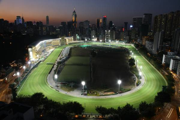 Happy Valley Racecourse Hong Kong at night