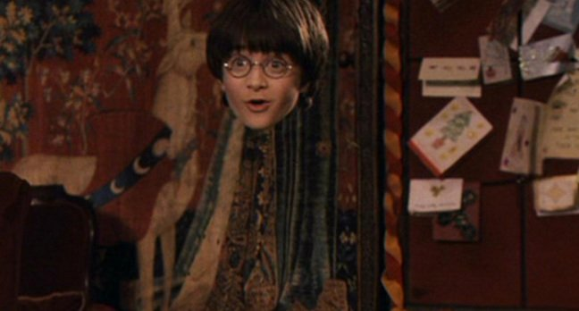 Harry Potter in his invisibility cloak