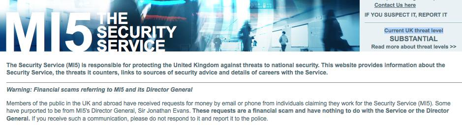 Screengrab of the MI5 website