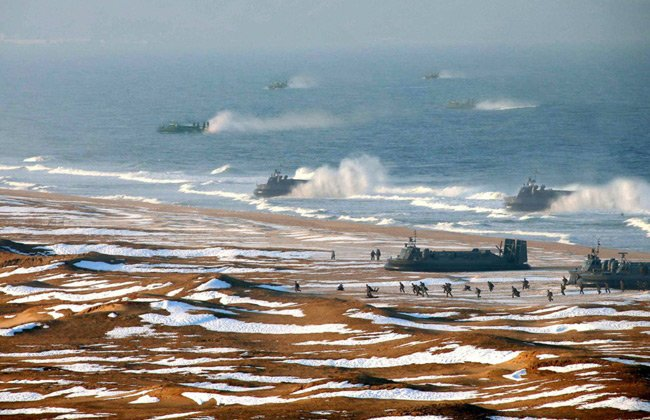 Photoshopped image showing North Korean hovercraft amphibious assault