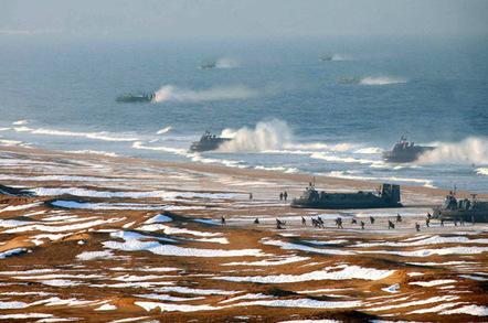 Photoshopped image showing North Korean hovercraft amphibious assault