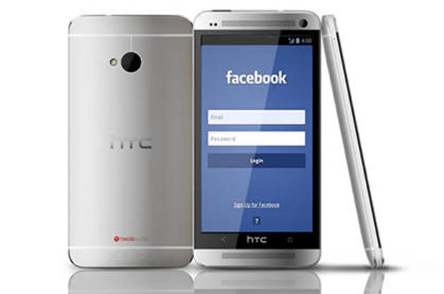 Concept art of a hypothetical HTC Facebook phone
