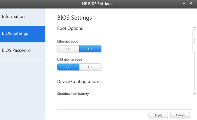 HP ElitePad 900 Windows 8 Pro tablet BIOS control panel