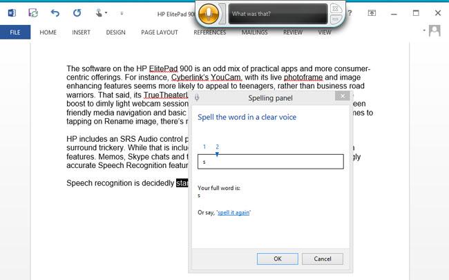 HP ElitePad 900 Windows 8 Pro tablet speech recognition