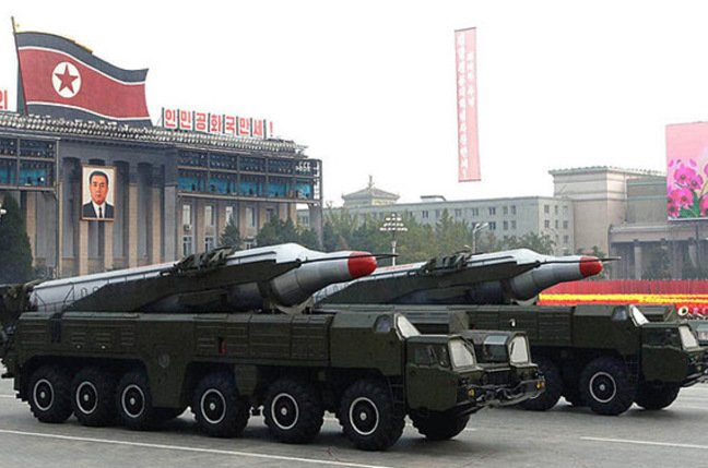 Two Musudan missiles in Pyongyang in October 2010