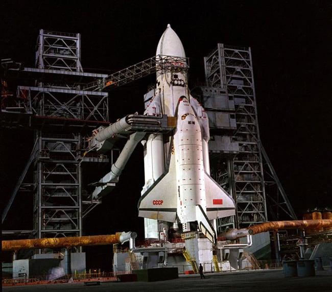 Buran on the launch pad