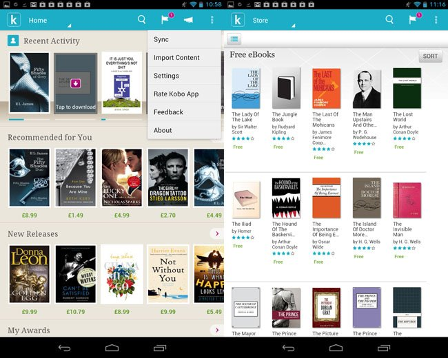 Kobo Arc 7in Android tablet bookstore