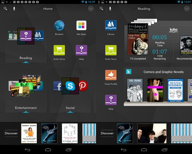 Kobo Arc 7in Android tablet home screen and reading Tapestries