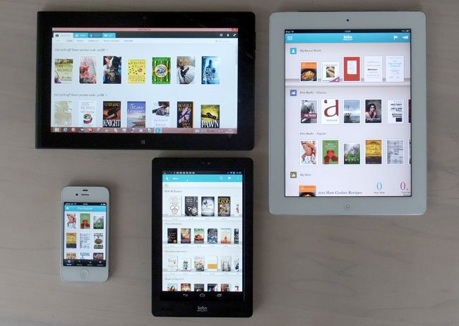 Kobo Arc 7in Android tablet with iPhone, iPad and Lenovo ThinkPad Tablet 2