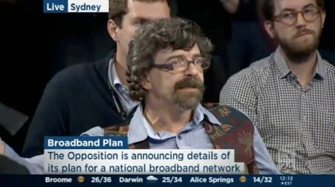 Reg hack Richard Chirgwin at the coalition's press conference to reveal its NBN policy