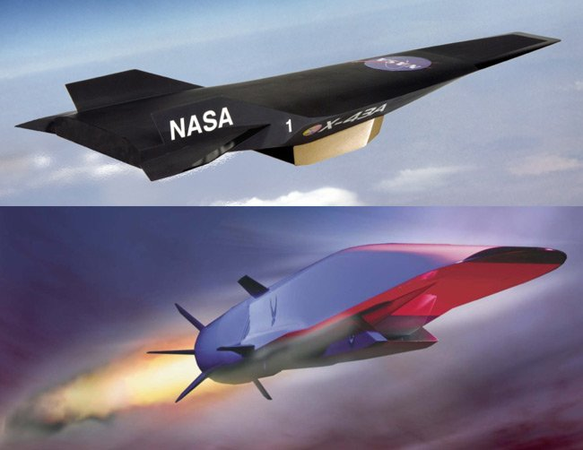 The X-43 and X-51 scramjet vehicles. Pics: Boeing/NASA/DARPA
