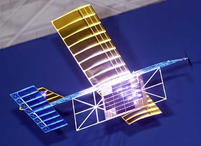 NASA's laser-powered aircraft in flight. Pic: Tom Tschida, Dryden Flight Research Center