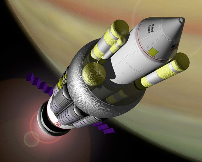 Artist's impression of the proposed Orion spacecraft heading away from Earth. Pic: NASA