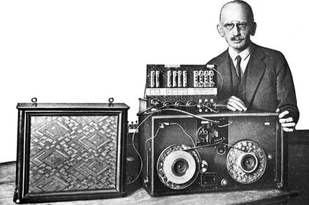 Fritz Pfleumer with his magnetic tape recorder