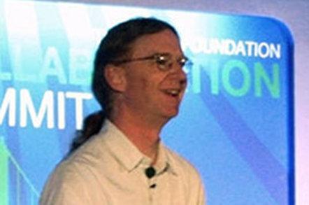 Photo of Jonathan Corbet at Linux Collaboration Summit 2013