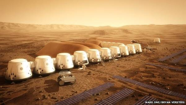 Artist's rendition of the Mars One private space colony