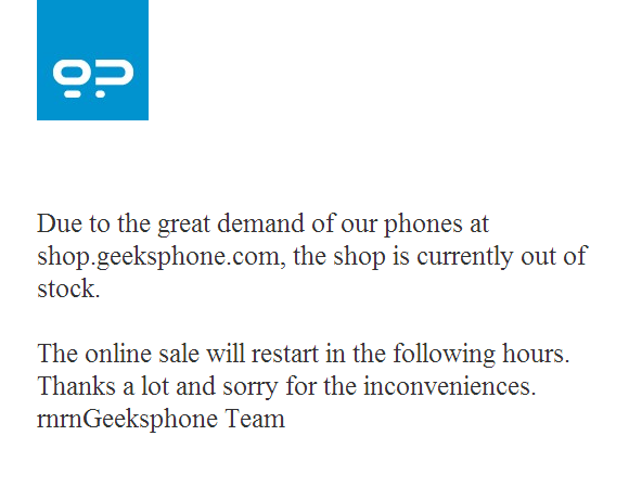 Screenshot of message indicating Geeksphone handsets have sold out