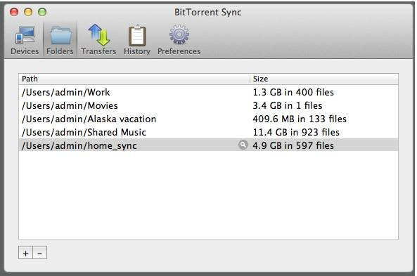 Selecting folders to sync with BitTorrent's new tool