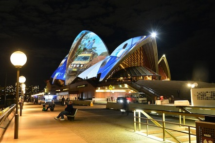 Sydney Opera House covered in projected images captured with Samsung phones