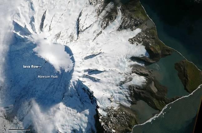 NASA image depicting lava flows on Heard Island