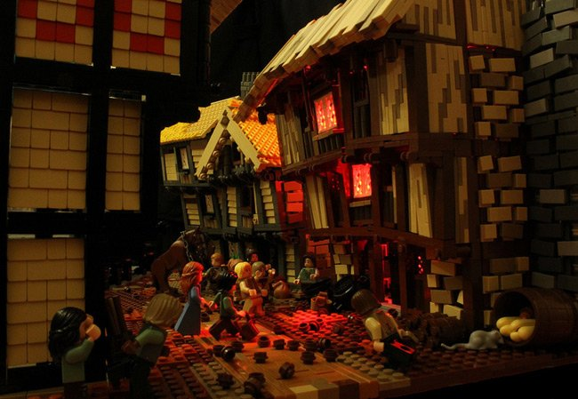 The Lego depiction of the start of the Great Fire of London