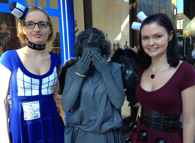 Dr Who fans at the opening of the Sydney Dr Who store