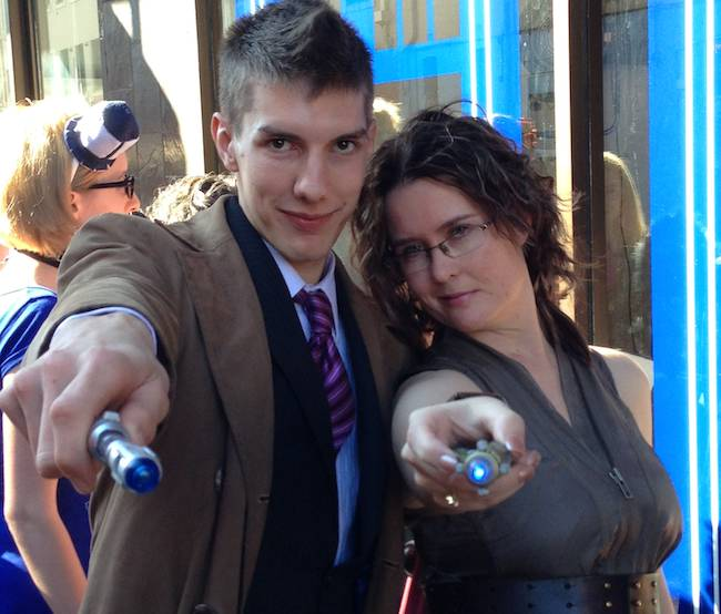 The Doctor and River at the opening of the new Dr Who pop-up store in Sydney