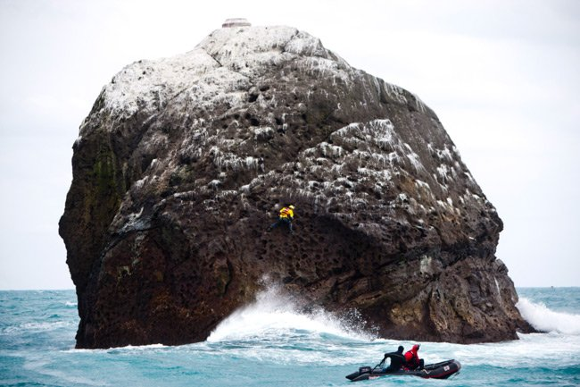 Nick Hancock lands on Rockall in 2012. Pic: Michael Schofield