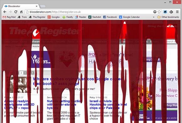 The Register's homepage under the influence of the Raining Blooderator