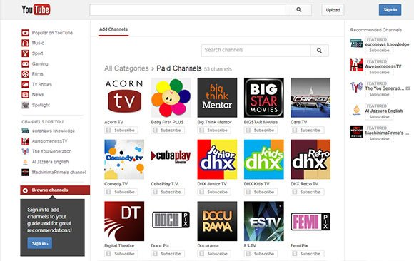 Screenshot of YouTube's subscription channel center