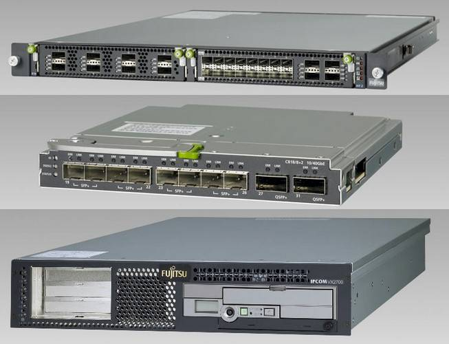Fujitsu's two converged fabric switches on top and its virtual network appliance on bottom