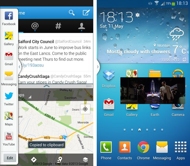 Samsung Galaxy S4 TouchWiz windows