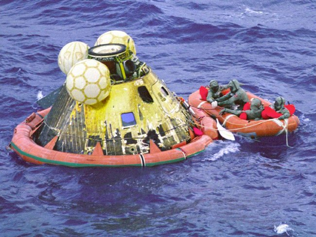 The Apollo 11 capsule in the Pacific in July 1969. Pic: NASA