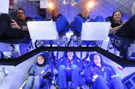Inside the Dragon capsule (from top left): NASA Crew Survival Engineering Team Lead Dustin Gohmert, NASA Astronaut Tony Antonelli, NASA Astronaut Lee Archambault, SpaceX Mission Operations Engineer Laura Crabtree, SpaceX Thermal Engineer Brenda Hernandez, NASA Astronaut Rex Walheim, and NASA Astronaut Tim Kopra. Photo: SpaceX