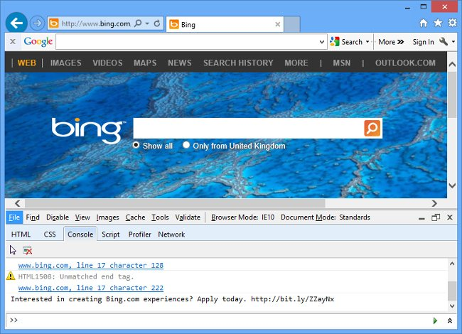 Hidden Bing developer ad