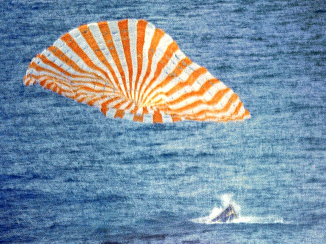 Gemini 10 splashdown on 21 July 1966. Pic: NASA
