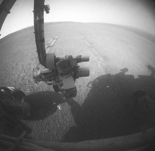 View of Mars rover Opportunity's tracks from its hazard-avoidance camera