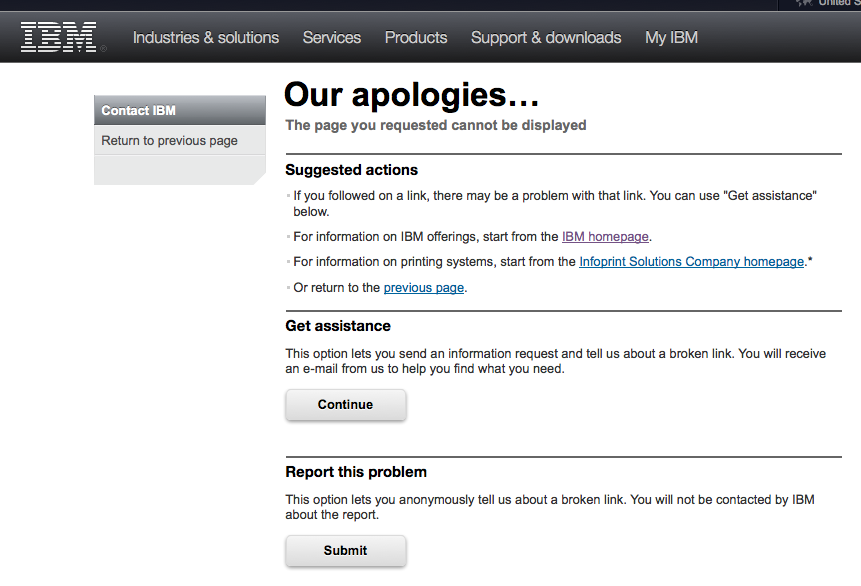IBM we're-sorry screenshot