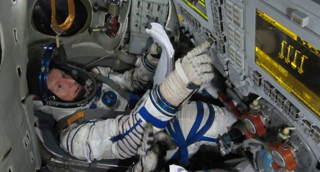 Tim Peake training in a Soyuz simulator