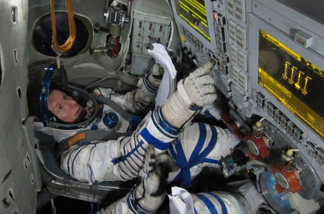 Tim Peake training in a Soyuz simulator