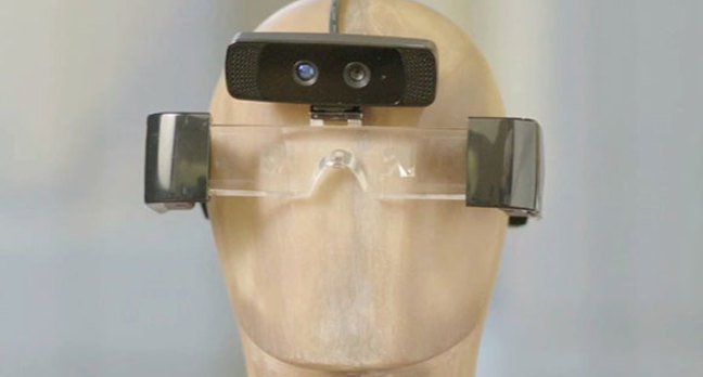 Photo of the first-generation Meta augmented reality glasses