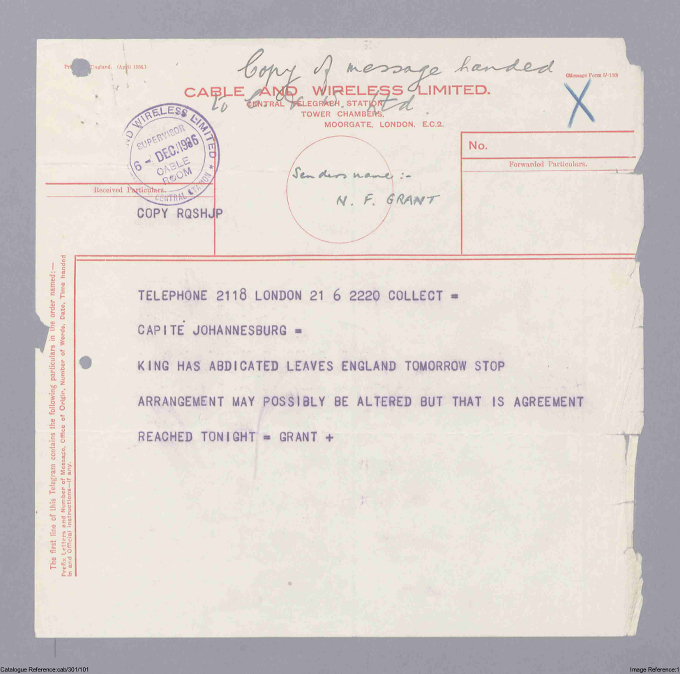 Journalist's telegram about Edward VIII's abdication