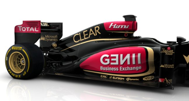 Lotus F1 car with EMC logo