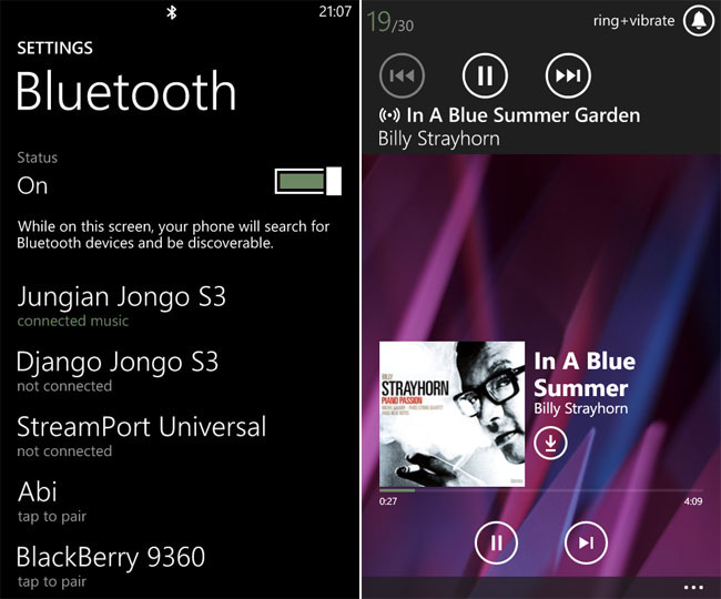 Nokia Lumia 820 Windows Phone 8 Bluetooth playback
