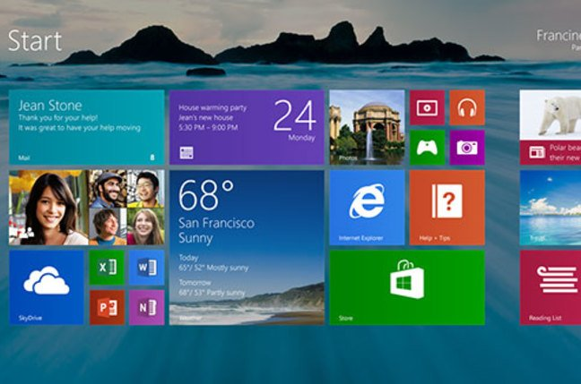 Screenshot of Windows 8.1's revamped Start screen