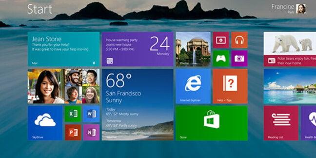 Screenshot of Windows 8.1's revamped Start screen